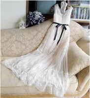2013 summer bohemia sleeveless vest one-piece dress female gold thread embroidery full lace dress beach dress