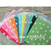 Paper Popcorn Bags with 11 styles, 500pcs treat paper bags polka dot bags for different parties,packed by OPP bags