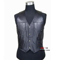 Free shipping hot sale High quality sheepskin men's leather vest leather vest male leather vest
