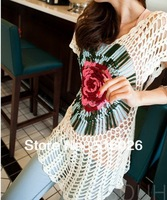 Summer Beach Cover UP Handmade Crochet Tie Dyed Women Lace Blouse Floral Hippie Tops Free Shipping