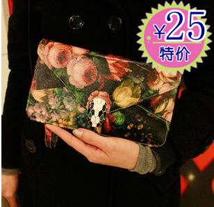 Free shipping Fashion oil painting print day clutch envelope bag chain bag vintage one shoulder cross-body bags girls
