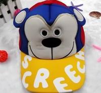 free shipping of  cotton material and  fashional visor cap baseball hats for funny big ear bear cartoon design