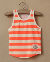 PROMOTION!  2013 new 5pcs/lot unisex modal fluorescence orange with pink yellow strip t shirt, free shipping, summer vest