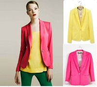 free shipping Women candy color suit blazers elegance colorful one button style FOLDABLE SLEEVES COAT cotton fabric