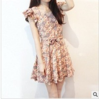 2013 summer new lady the wind princess women dress small fresh crushed flowers waist small daisy dress
