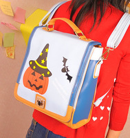 Free shipping 2013 bag halloween pumpkin cartoon print bag backpack handbag one shoulder multi-purpose women's handbag
