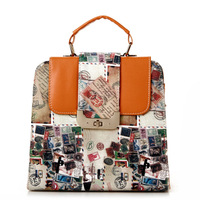 Free shipping 2013 vintage stamps bag multifunctional backpack one shoulder cross-body handbag shaping women's handbag