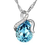 Wholesale White Gold Plated Crystal Drop Necklace,Austrian Crystal Necklace Fashion Jewelry MG678