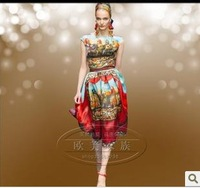 2014 new fashion sexy lady silk dress  colourful beautiful