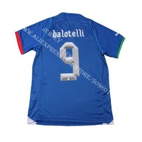 Free shipping 100% Polyester 2013 14 Thailand quality Italy jerseys home blue #9 BALOTELLI football shirts