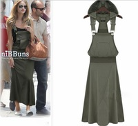 2013 summer women's long dress loose plus size one-piece dress long design solid color with a hood braces full dress 1164