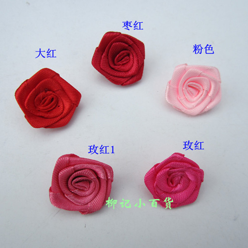 2cm red ribbon handmade rose flower clothes decoration ribbon diy hair accessory accessories flower(China (Mainland))