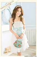 Q tube top wavy bow one-piece dress autumn and winter