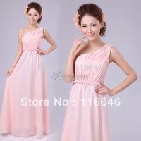 Princess design long one shoulder formal dress slim bridesmaid wedding dress XS  S  M  L  XL  XXL free shipping