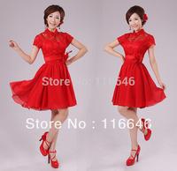 knee-length short design red wedding formal dress bridesmaid lace slim formal dress flower XS  S  M  L  XL  XXL free shipping