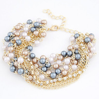 Free shipping 2014new jewelry european accessories fashion punk noble colorful multi-layer pearl bracelet chain women multicolor