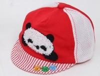 free shipping of  cotton material and  fashional visor cap baseball hats for kids  3 button panda cartoon design