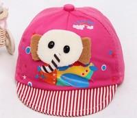 free shipping of  cotton material and  fashional visor cap baseball hats for kids  elephant cartoon design
