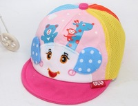 free shipping of  cotton material and  fashional visor cap baseball hats for kids bear monkey deer sheep panda cartoon design
