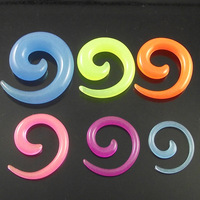 120pcs Free Shipping Mixed Candy color Ear Expander Fashion snail ear protector Glow In The Dark Flesh Tunnel Earring Ear Plug