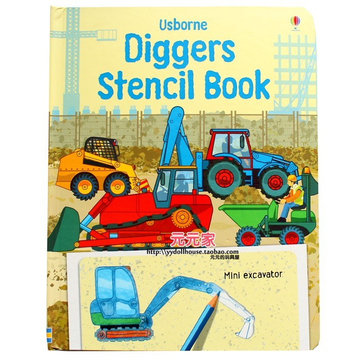 Stencil book boys diggers excavators model toy(China (Mainland))