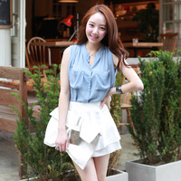 New arrival 2013 summer women&#39;s sweet sleeveless cardigan chiffon top loose plus size basic shirt  HZG-17