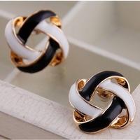 Free shipping, Accessories square twist oil rhinestone stud earring yiwu commodity female