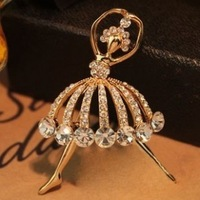 Free shipping, Accessories ballet girl elegant brooch full rhinestone pin corsage