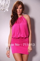 New design ladies draped billow dress,halter elegant dress, mini club wear dress