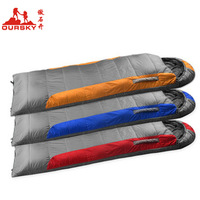 Hot sale Oursky holiday i outdoor camping envelope style hooded cotton sleeping bag