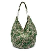 Green Handmade Shoulder Bag Ladies' Linen Beaded Handbag Shopping Bag 2509-13