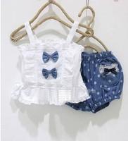 2 piece set - girls bow strap lace vest + denim bloomers - girls' suits