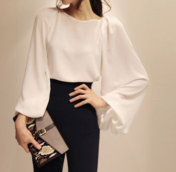 Chinese Syle Perspective Sexy Big Lantern Long Sleeve Chiffon Shirt