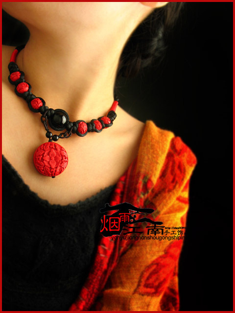 Brief paragraph necklace necklace carved lacquerware agate red wedding accessories(China (Mainland))