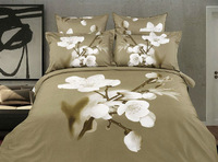 Top quality 100% Cotton Free Shipping--wholesale White Flower 3D oil painting bedding set /bed linen / 4pcs bed sheet