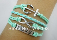 12PCS/Lot!Free ship!Antique Silver Infinity Charm Bracelet,Love Anchor Bracelet, Multi Strand Rope Bracelet UN24080