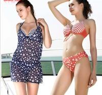 2013 New Hot Sexy Swimsuit Women Bikini Plus Size Bathing Suits Lady Swimwear 3pcs/set Korea