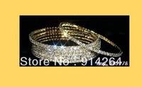 Wholesale 12Pcs 1Row Bridal Gilt Rhinestone Bangles   free shipping