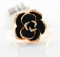 Grind arenaceous black roses with crystal index finger ring free shipping