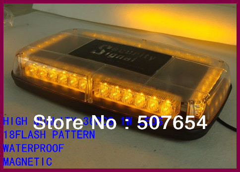 High quality DC12V 32PCS*1W Amber Led Mini light bar/warning lightbar(clean pc lens,8flash pattern Magnetic base,warerproof)(China (Mainland))