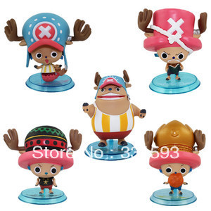 anime figures One Piece The New World Chopper Cute PVC Model Toys For Christmas Gifts Figure 7cm 5pcs/set Free Shipping