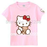 2013 Stylish Lovers' Clothes Hello Kitty Bear Summer Cartoon T-shirt Cute Leisure Cotton Short sleeve T-Shirt  dropship 12 color