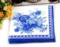Multicolour table napkin paper printed facial tissue blue classic serviette ( 10 packs=200pcs)