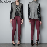 Womens cutting designing blazer with pu patchwork in shoulder for freeshipping and wholesale