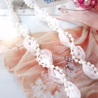 HOT SALE!!! 20 yards White Pearl trim With White Tulle ,FREE SHIPPING