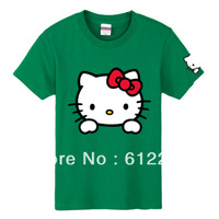 2013 Fashionable Lovers' Clothes Hello Kitty Summer Cartoon T-shirt Cute Leisure Cotton Short sleeve T-Shirt  dropship 12 color