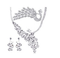 New peacock tiara Luxurious crystal bridal jewelry sets hot sale cheap jewelry wedding accessory