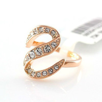 Letters large s-shaped Austrian crystal ring free shipping