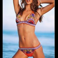 Free shipping/new orange pattern bikini swimsuit Summer Beach sets swimming Halter hang for women swimware beachwear