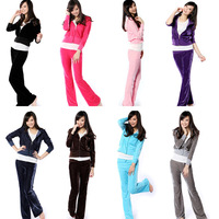promotional spring and autumn velour sports set Women slim casual sweatshirt velvet sportswear free shipping